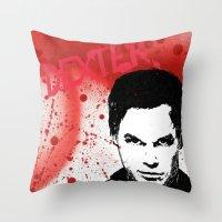 dexter Throw Pillows featuring Dexter by Carolyn Campbell