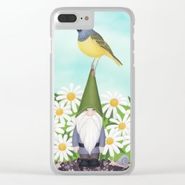 gnome with MacGilivray's warbler and daisies Clear iPhone Case