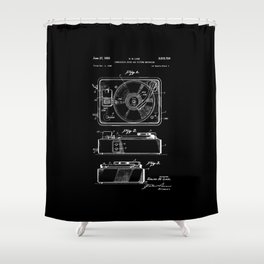 Turntable Patent - White on Black Shower Curtain