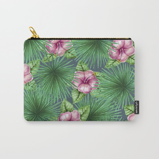 Jungle Love, Palm Leaves And Hibiscus Carry-All Pouch