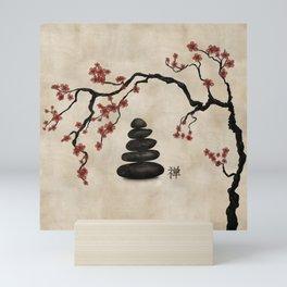 Zen stones Sakura Tree Mini Art Print