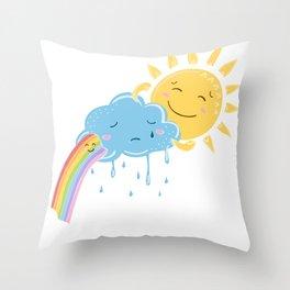 Sun cloud and rainbow friends Throw Pillow