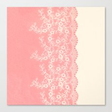 Lace #CoralPink Canvas Print