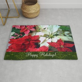Mixed color Poinsettias 1 Happy Holidays S6F1 Rug