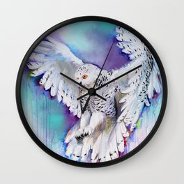 Flying White Owl Modern Watercolor Wall Clock
