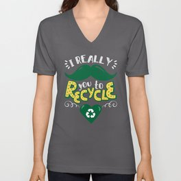 I Really Mustache You To Recycle Earth Day design Unisex V-Neck