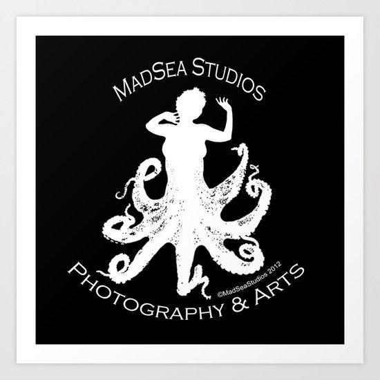 MadSea Nymph, white on black Art Print