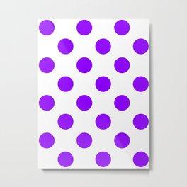 Large Polka Dots - Violet on White Metal Print