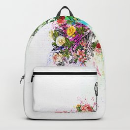 Flowers Lungs Skeleton Watercolor Backpack