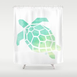 green sea turtle, watercolor, geometric & minimalism Shower Curtain