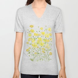 yellow buttercup flowers filed watercolor  Unisex V-Neck