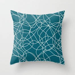 Off White Scribbled Lines Abstract Hand Drawn Mosaic on Tropical Dark Teal Inspired by Sherwin Williams 2020 Trending Color Oceanside SW6496 Throw Pillow