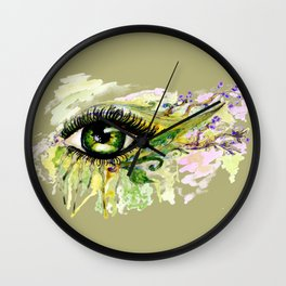 Green eye with sakura Wall Clock