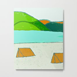 camping art, camping artwork, camping, outdoor art, outdoors, outdoor artwork, mountains, mountain a Metal Print