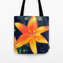 Bright Orange Single Lily Flower Floral Tote Bag