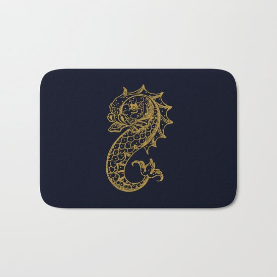 The gold seahorse- Navy blue maritime print with gold ornament Bath Mat