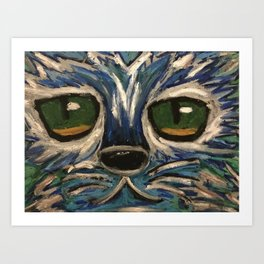 Blue and silver cat face Art Print