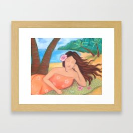Napping Under the Coconut Tree, Hawaiiana Framed Art Print