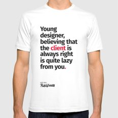 Young Designer — Advice #4 White Mens Fitted Tee MEDIUM