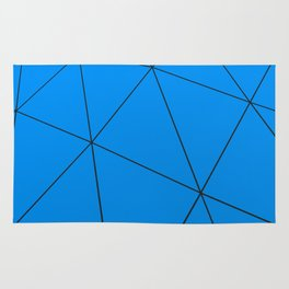 Blue low poly displaced surface with black lines Rug