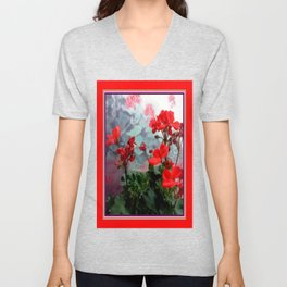 Red Geraniums Floral Red Abstract Unisex V-Neck
