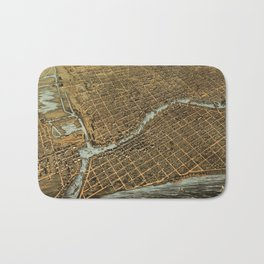 Vintage Pictorial Map of Milwaukee (1872) Bath Mat
