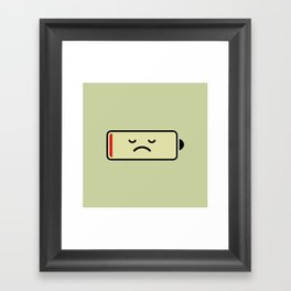 Sad Battery Framed Art Print