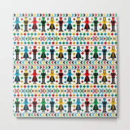 Traditional folk art knitted embroidery colored pattern with dancers Metal Print