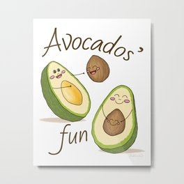 Avocados' Fun! Cute Humorous Artwork and Pattern Metal Print