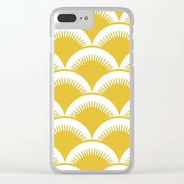 Japanese Fan Pattern Mustard Yellow Clear iPhone Case