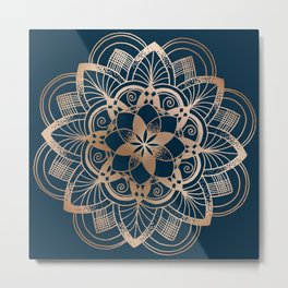 Lotus metal mandala on blue Metal Print