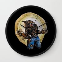 werewolf Wall Clocks featuring Werewolf ! by Patricia Pedroso