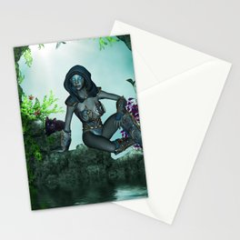 The dark fairy with cute little kitten Stationery Cards