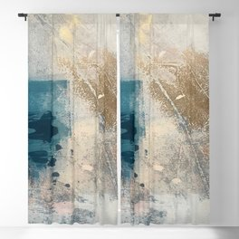 Embrace: a minimal, abstract mixed-media piece in blues and gold with a hint of pink Blackout Curtain