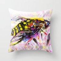 bee Throw Pillows featuring Bee by shadow chen