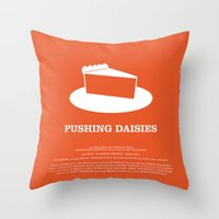 pushing daisies Throw Pillows featuring Pushing Daisies by MacGuffin Designs