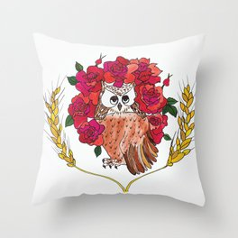 Owl with Rose Halo Throw Pillow