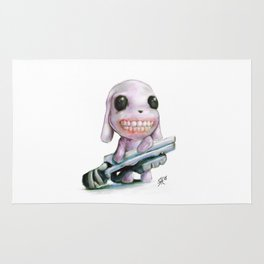 Little Dog..Big Gun | Illustration Painting Rug