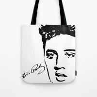 elvis Tote Bags featuring Elvis! by John Medbury (LAZY J Studios)