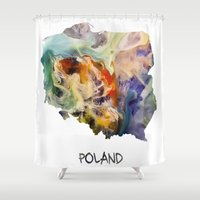poland Shower Curtains featuring Map of Poland watercolor by jbjart