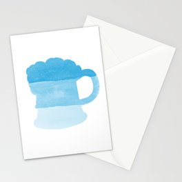Oktoberfest Bavarian October Beer Festival Beer Mug in Bavarian Blue Stationery Cards