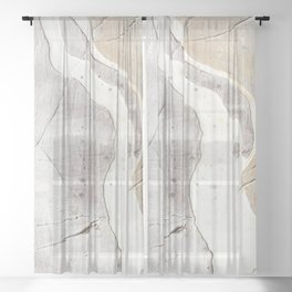 Feels: a neutral, textured, abstract piece in whites by Alyssa Hamilton Art Sheer Curtain