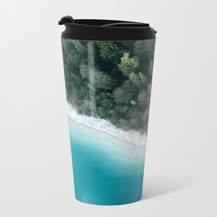 Green and Blue Symmetry - Landscape Photography Metal Travel Mug