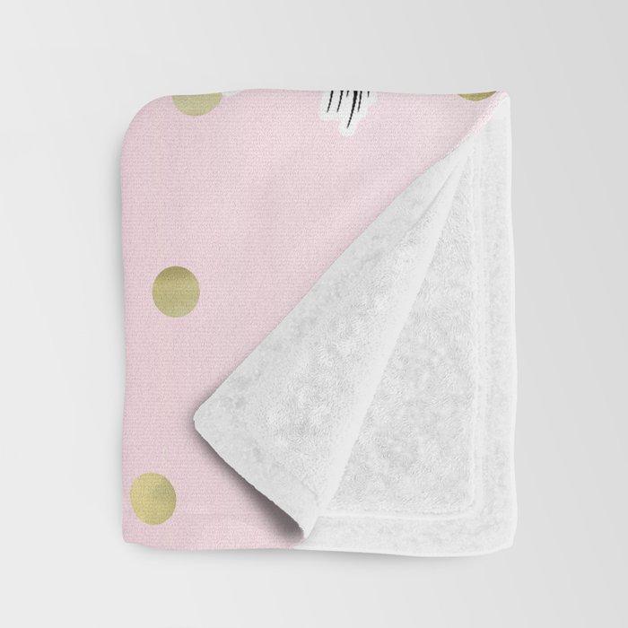 Floral Trendy Modern Unicorn Horn Gold Confetti Throw Blanket