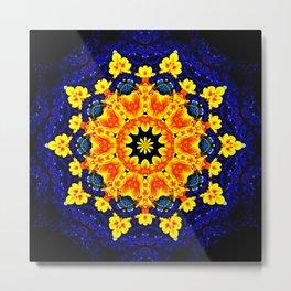 Yellow Orange Floral Madala  Background Dark Blue Metal Print