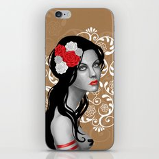 Goth Girl with Flowers in her Hair iPhone & iPod Skin