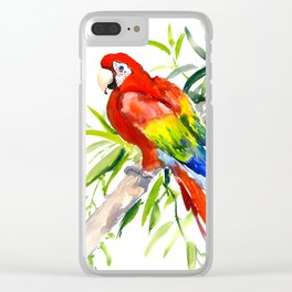 Scarlet Macaw, jungle tropical home decor bright colored parrot foliage Clear iPhone Case
