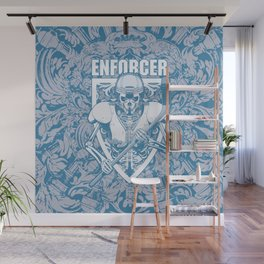 Enforcer Ice Hockey Player Skeleton Wall Mural