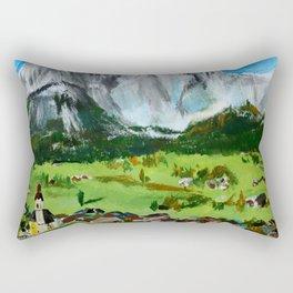 Austria Tyrol Mountains acrylic painting Rectangular Pillow