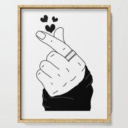 K-pop finger heart hand sign korean boy with ring black hearts Serving Tray
